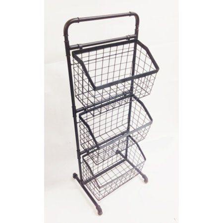 Wilco Home 3 Tier Floor Stand Display Metal Basket
