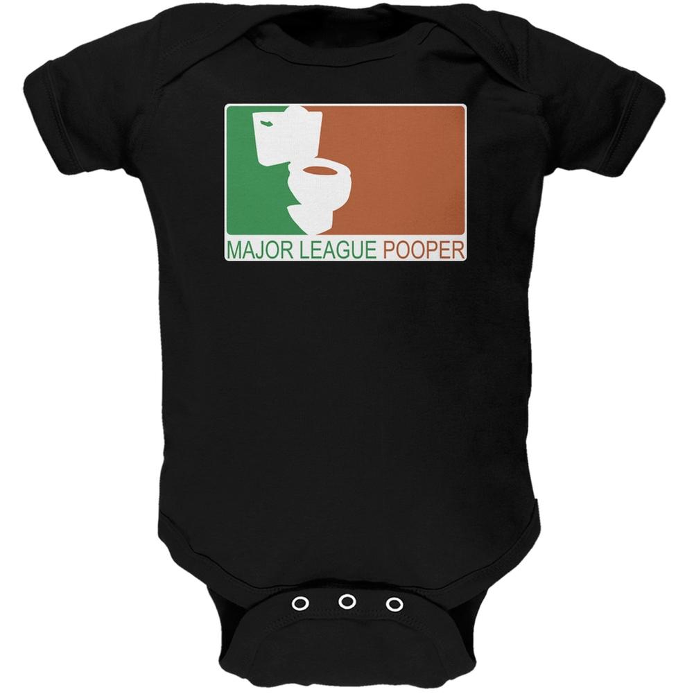 Major League Pooper Black Soft Baby One Piece