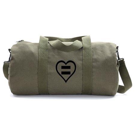 Human Rights Equal Sign Heart Heavyweight Canvas Duffel Bag