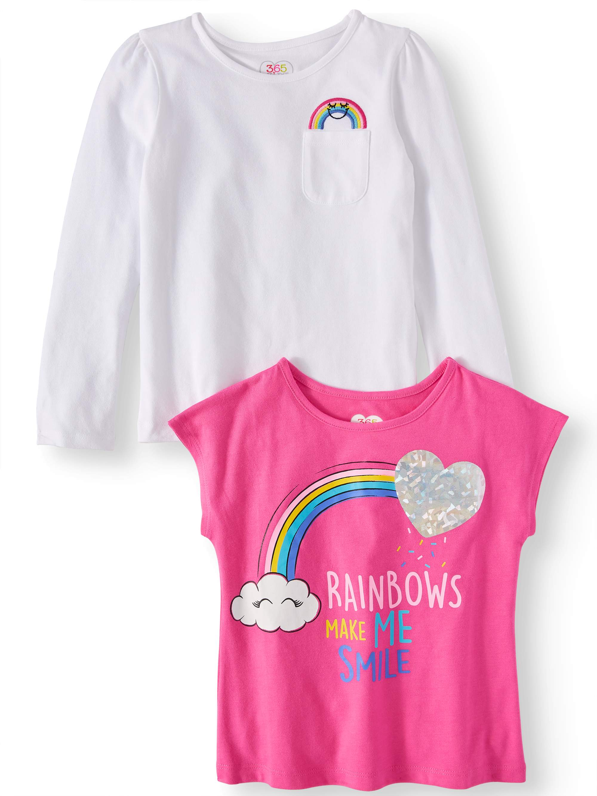 Long Sleeve and Short Sleeve Tees, 2-Pack (Little Girls & Big Girls)