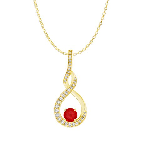 Ruby CZ Infinity Style Pendant 18K Yellow Gold Vermeil - image 1 of 5