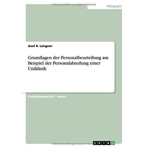 Grundlagen Der Personalbeurteilung Am Beispiel Der Personalabteilung ...