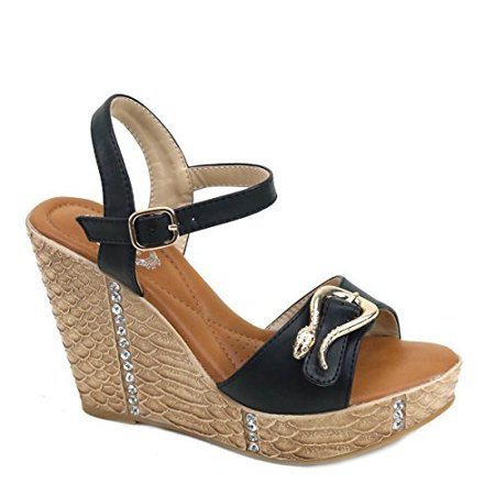 Stage Wedge (Rhinestones Snake Buckle Vegan Platform Wedge Sandals )