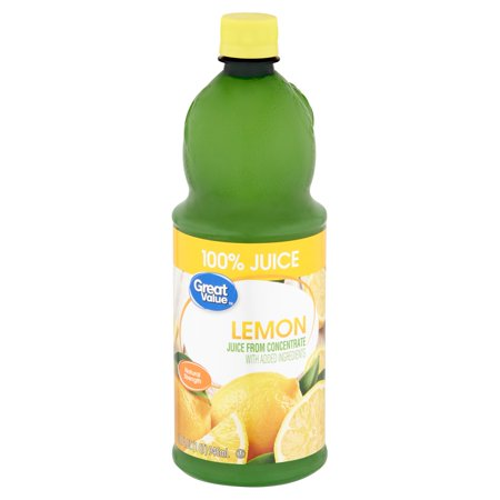 Great Value Lemon 100% Juice, 32 fl oz