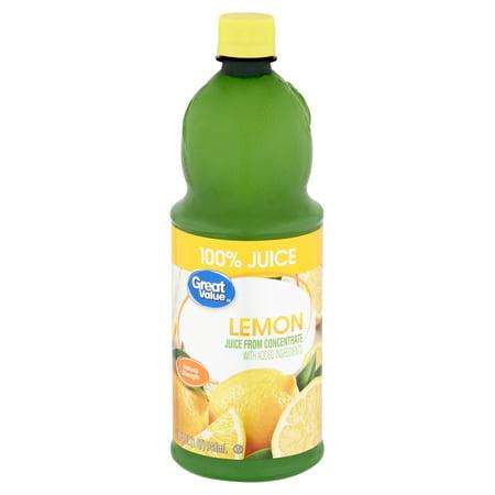 Great Value Lemon 100% Juice, 32 fl oz (Best Way To Juice A Lemon)