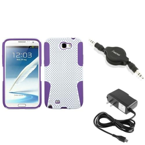 Insten Purple/White Hybrid Case AC Wall Charger Audio Cable For Samsung Galaxy Note 2 II
