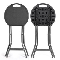 Rfiver Portable Folding Stool 18.1 inch Set of 2 Fold up Stool for Adults Kitchen Garden Bathroom Collapsible Round Stool,200lbs Capacity,Black