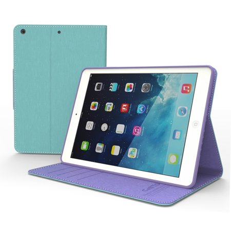 Mint  Lavender Faux Leather Diary Flip Case W  Id Slots  Bill Fold    Magnetic Closure For Apple Ipad Air