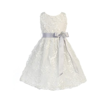 Sweet Kids Little Girls Off-White Silver Lace Embroidered Flower Girl Dress