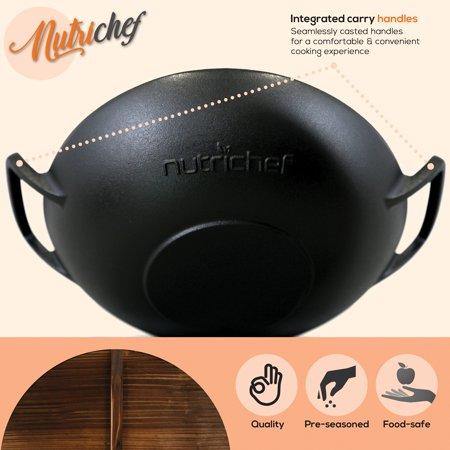 NutriChef Pre Seasoned Cooking Wok Cast Iron Stir Fry Pan with Wooden Lid, Black