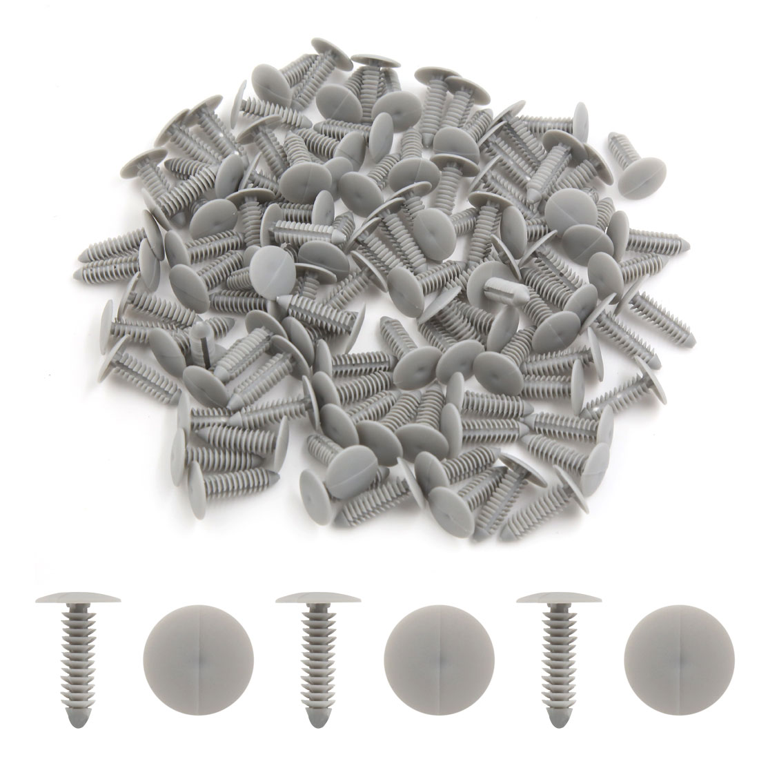 Universal 7mm Gray Plastic Trim Rivets Buckle Fastener Clips 100PCS for Car SUV - image 1 of 2