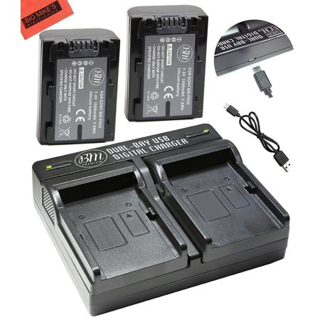 BM Premium 2-Pack Of NP-FH50 Batteries and Dual Battery Charger for Sony Cyber-shot DSC-HX1, DSC-HX100V, DSC-HX200V, HDR-TG5V, DSLRA230, DSLRA290, DSLRA330, DSLRA380, DSLRA390 Digital (Best Battery For Dual Battery Setup)