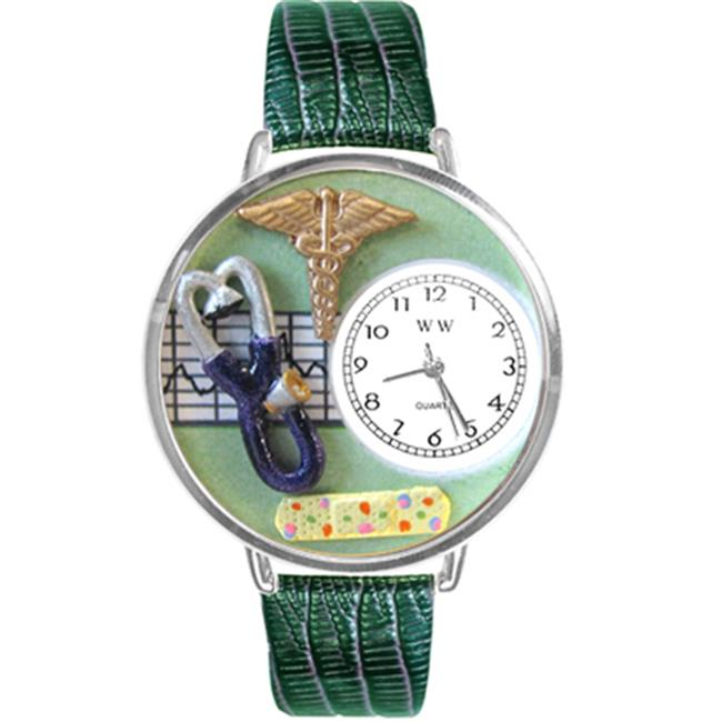 Whimsical Gifts U-0620056 Nurse 2 Green Watch In Silver Large