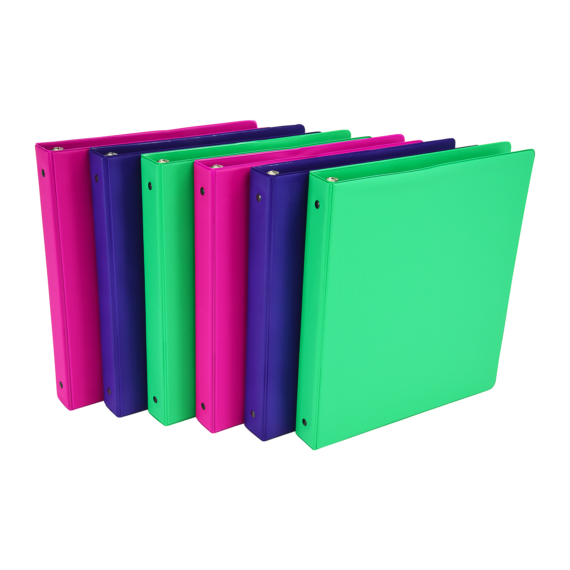 """Samsill Fashion Color 1"""" Round Ring Storage Binders, Assorted Colors, 6 Pack"""