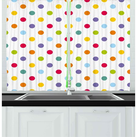 Kids Curtains 2 Panels Set, Vintage Polka Dots in Pastel Colors on Blank Background Cheerful Desing Illustration, Window Drapes for Living Room Bedroom, 55W X 39L Inches, Multicolor, by Ambesonne (Polka Dots Background)