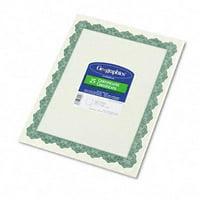 Parchment Paper Certificates  8-1/2 x 11  Optima Green Border  25 per Pack