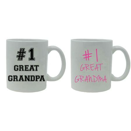 #1 Great Grandpa and #1 Great Grandma 11-Ounce White Ceramic Coffee Mugs Set, White/White