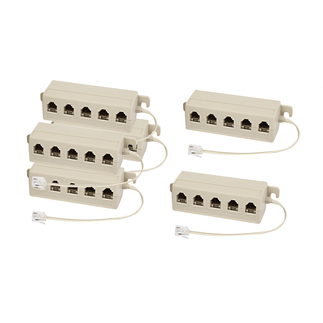 Unique Bargains RJ11 6P4C Male to 5 Male Telephone Phone Extension Connector Cable Splitter x6