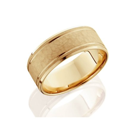 8mm Hammered Mens Wedding Band 14K Yellow Gold - image 1 of 2