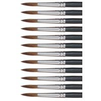 Dynasty 5800 Round Camel Hair Short Enameled Wood Handle Watercolor Paint Brush, Size 12, 1-3/16 in Hair, Black, Pack of 12