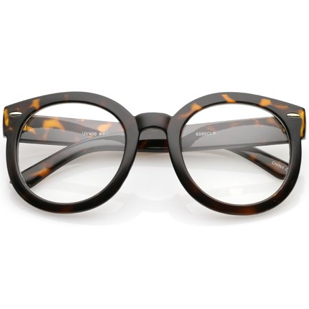 sunglassLA - Oversize Thick Arms Round Clear Lens Horn Rimmed Eyeglasses 53mm - (Eyeglasses Arms)