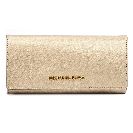 6b96d215dc130 Michael Kors - Michael Kors Pale Gold Metallic Saffiano Leather Large Jet  Set Carryall Wallet - Walmart.com