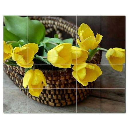 Flowers Ceramic Tile Mural Kitchen Backsplash Bathroom Shower 402577 S54