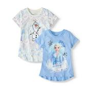 Disney Frozen 2 Elsa or Anna Sequin & Foil Graphic T-Shirts, 2-Pack (Little Girls & Big Girls)