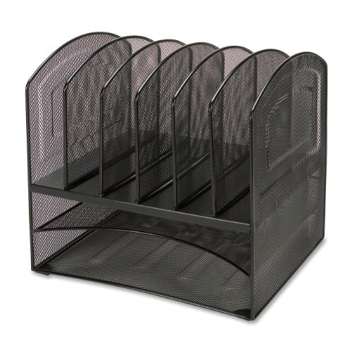 Lorell Horizontal Vertical Mesh Desk Organizer - 8 Compartment[s] - Steel - Black (LLR37523)