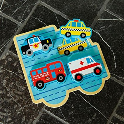 Swell Vroom Town Chunky Puzzle Set Of 4 Colorful Vehicle Blocks That Fit Into Slots Carved Into Wooden Puzzle Board Vehicles Include Police Car Download Free Architecture Designs Oxytwazosbritishbridgeorg