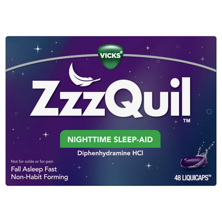 Vicks ZzzQuil Nighttime Sleep Aid LiquiCaps, 48 Count