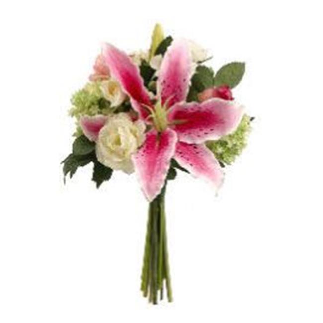 FBQ311-RB-CR 12 in. Casablanca Lily-Rose Bouquet Rubrum-Cream- Pack of 4