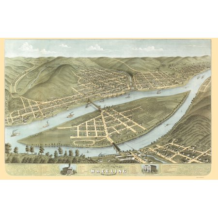 Old Panoramic Print   Wheeling West Virginia   Ruger 1870   23 X 35 29