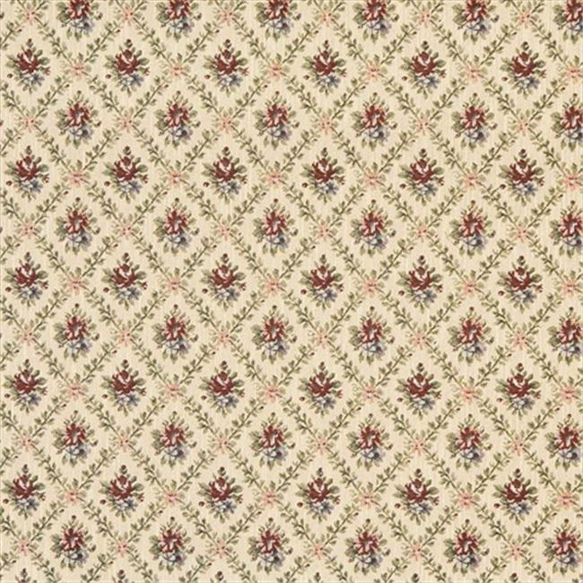 Designer Fabrics F920 54 in. Wide Gold, Burgundy And Green, Floral Diamond Tapestry Upholstery Fabric