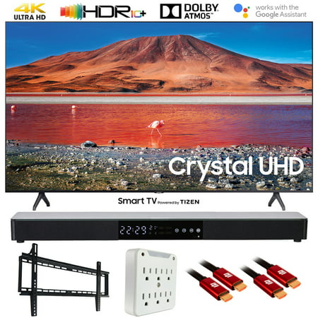 "Samsung UN50TU7000 50"" TU7000 4K Ultra HD Smart LED TV (2020 Model) with Deco Gear Home Theater Soundbar, Wall Mount Accessory Kit and HDMI Cable Bundle (50 Inch TV 50TU7000 UN50TU7000FXZA)"