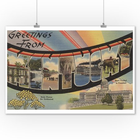 Greetings from Kentucky (State Capital & Flower) (9x12 Art Print, Wall Decor Travel Poster) ()