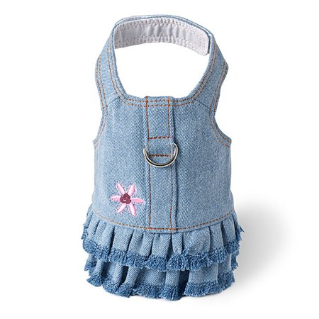 Blue Jean Denim Flower Dress Dog Harness by Doggles - Small