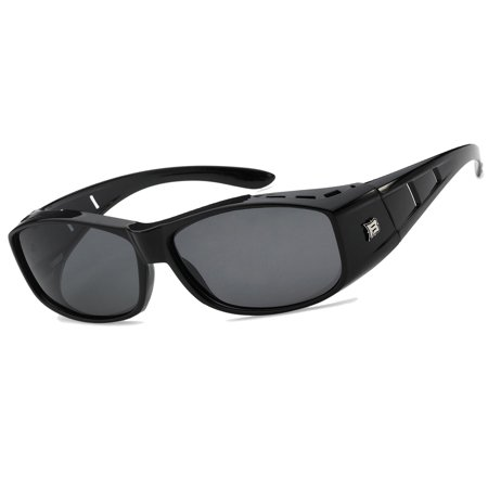 POLARIZED cover put over Sunglasses wear Rx glass fit driving SIZE LARGE, Black Frame, Black (Large Square Frame Sunglasses)