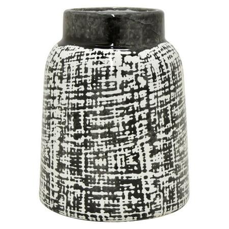 Three Hands Black and White Ceramic Vase