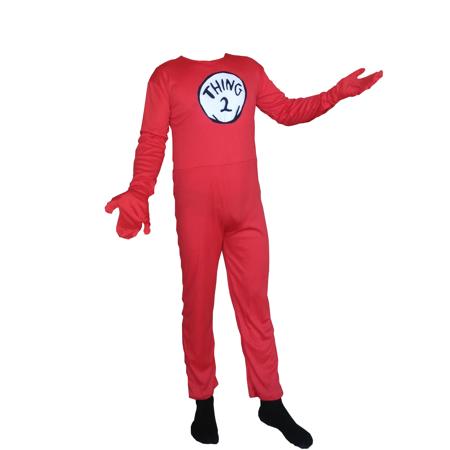 Thing 2 Child Costume Cat In The Hat Body Suit Spandex Kids Youth Cosplay