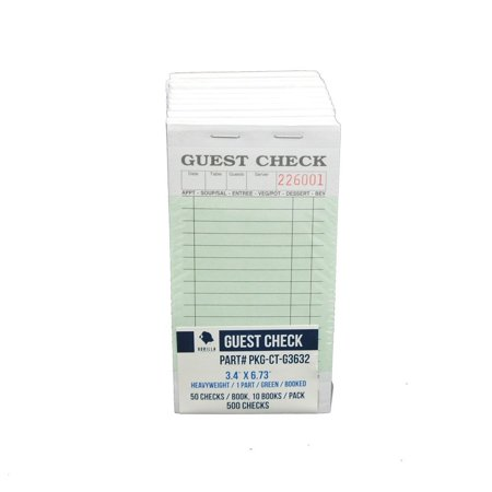 Guest Book Blank (Guest Check PKG-CT-G3632 Heavyweight, Single Part, Perforated, Green, 3.4