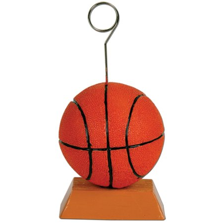 Pack of 6 Orange and Black Basketball Photo or Balloon Holder Party Decorations 6 oz.