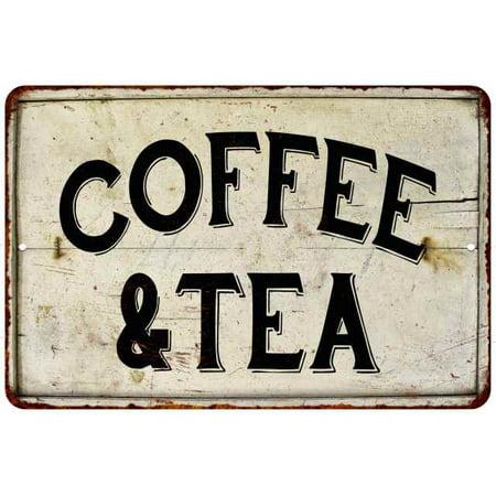 Coffee & Tea Vintage Look Chic Distressed 8x12 Metal Sign 208120020092