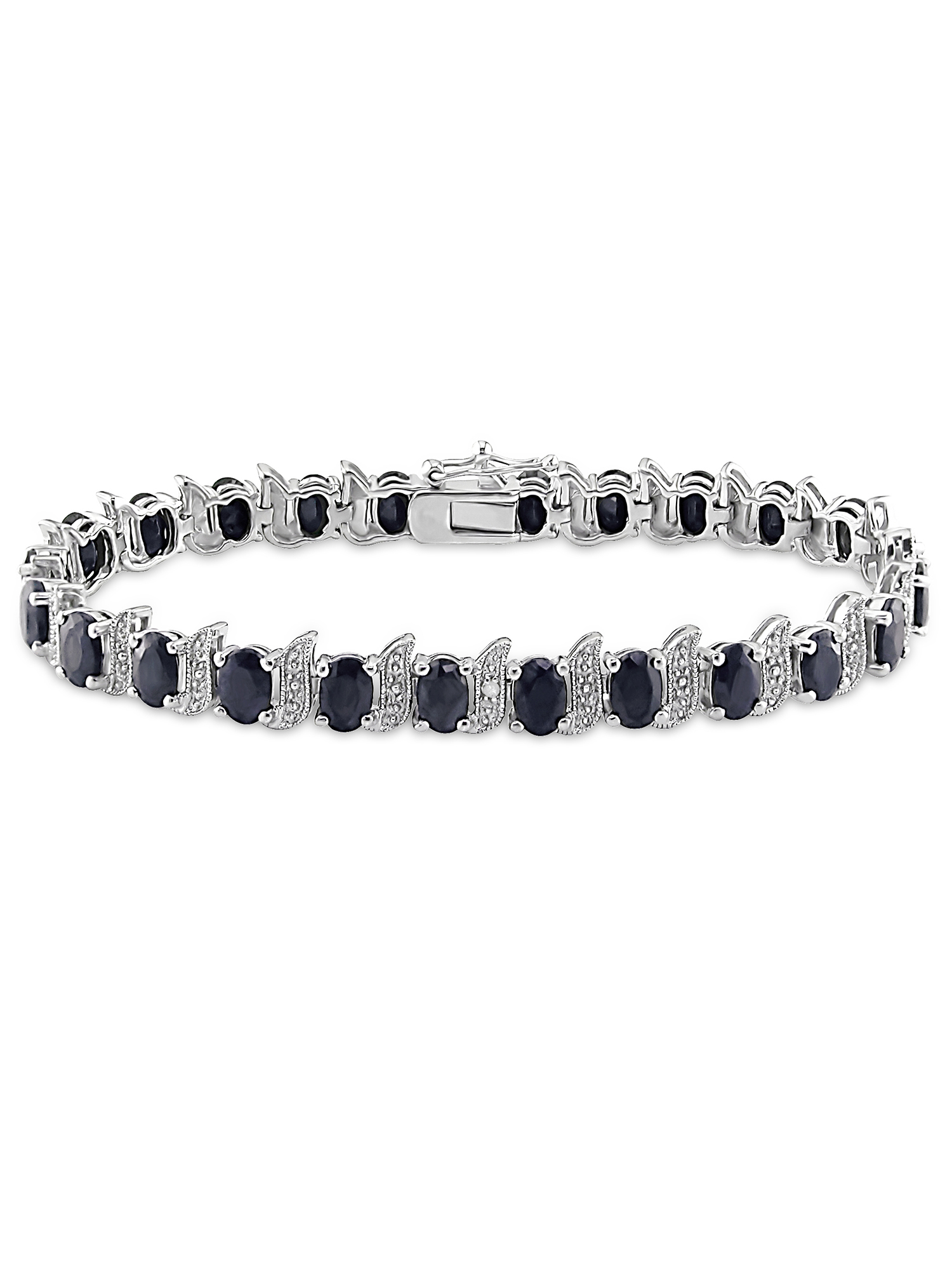 Asteria 14-7/8 Carat T.G.W. Black Sapphire and Diamond Accent Sterling Silver Bracelet, 7""