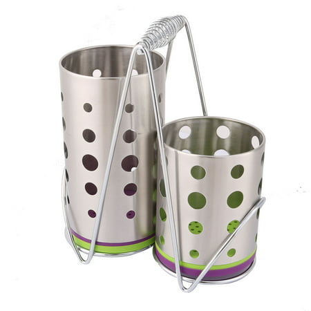 Stainless Steel 2 Parts Cutlery Spoon Chopsticks Fork Holder Basket - image 4 of 4
