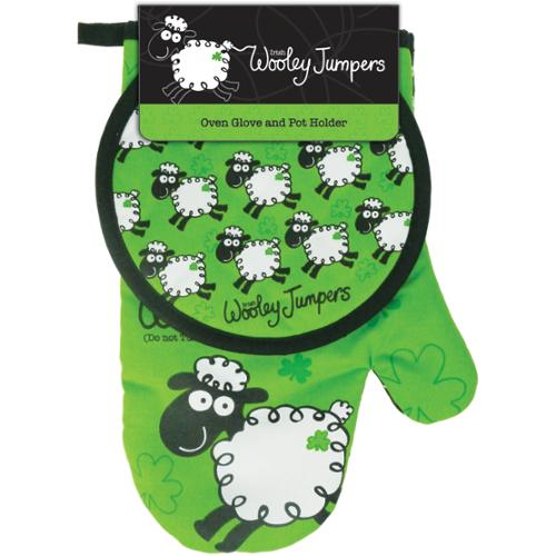 """Wooley Jumpers Oven Glove 11""""X7"""" & Pot Holder 7""""X6.5""""-"""