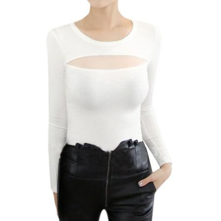 Unique Bargains Woman Crew Neck Long Sleeves Mesh Panel Slim Fit Top