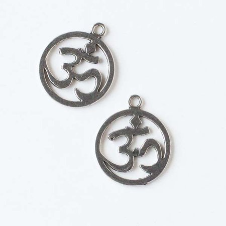 - Cherry Blossom Beads 19x22mm Silver Pewter Coin Shaped Om Ohm Aum Charm - 10 per bag