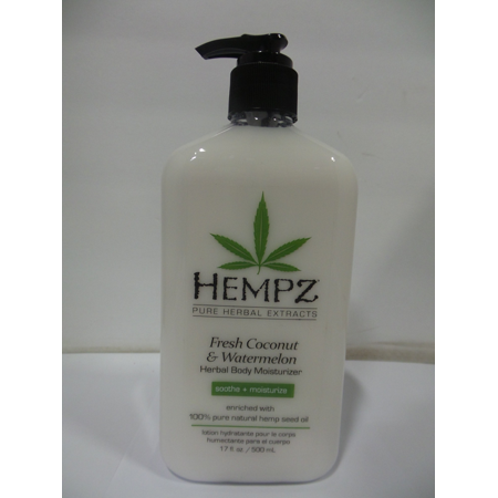 Hempz Herbal Body Moisturizer, Pearl White, Fresh Coconut/Watermelon 17 oz-Pack of 3 White Body Moisturizer