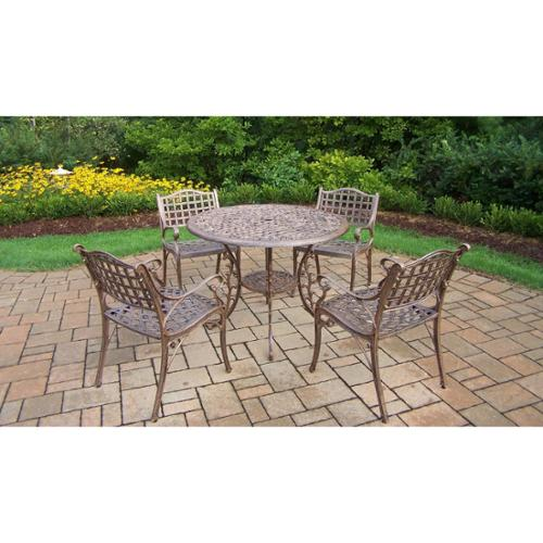 Oakland Living Corporation Bronze Cast Aluminum 5-piece Weather Resistant Dining Set